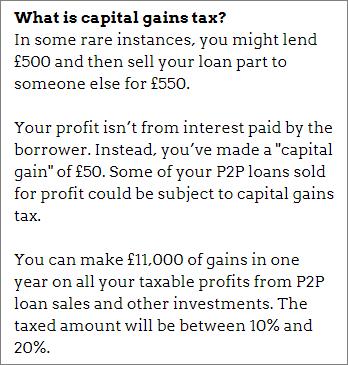 Capital gains tax on P2P lending